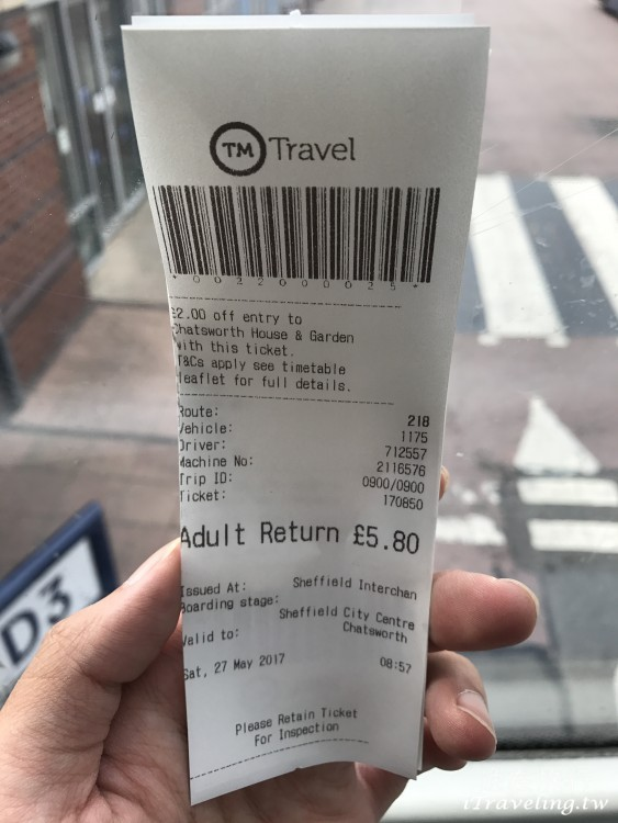 TM Travel Bus Ticket 218 Sheffield to Chatsworth House