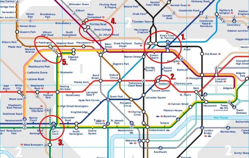 倫敦地鐵圖, 住宿區域推薦